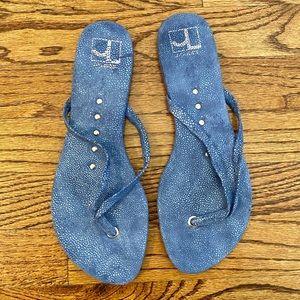 J/Slides Blue Thong Sandals